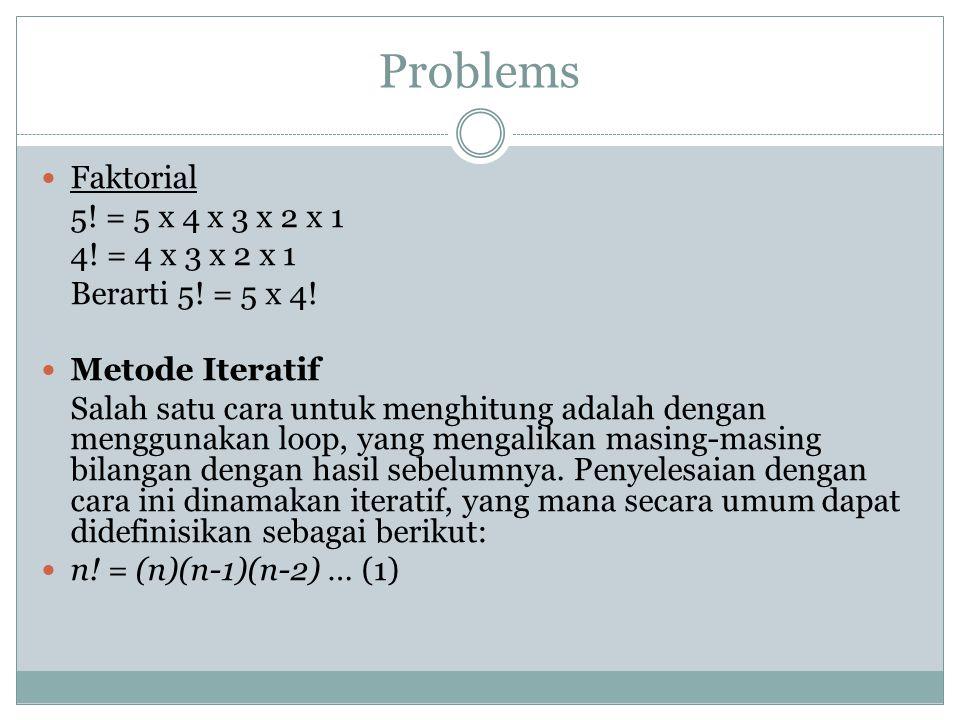 Problems Faktorial 5! = 5 x 4 x 3 x 2 x 1 4! = 4 x 3 x 2 x 1 Berarti 5! = 5 x 4! Metode Iteratif Salah satu cara untuk menghitung adalah dengan menggu