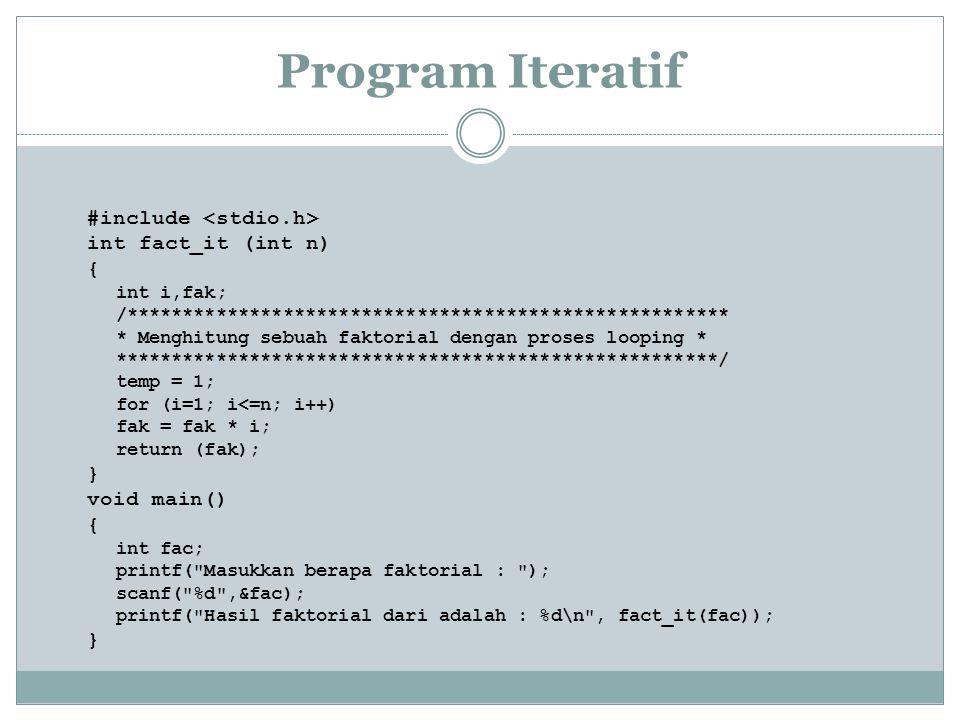 Program Iteratif #include int fact_it (int n) { int i,fak; /****************************************************** * Menghitung sebuah faktorial denga