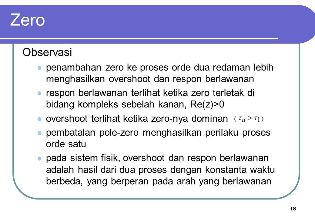 18 Zero Observasi penambahan zero ke proses orde dua redaman lebih menghasilkan overshoot dan respon berlawanan respon berlawanan terlihat ketika zero