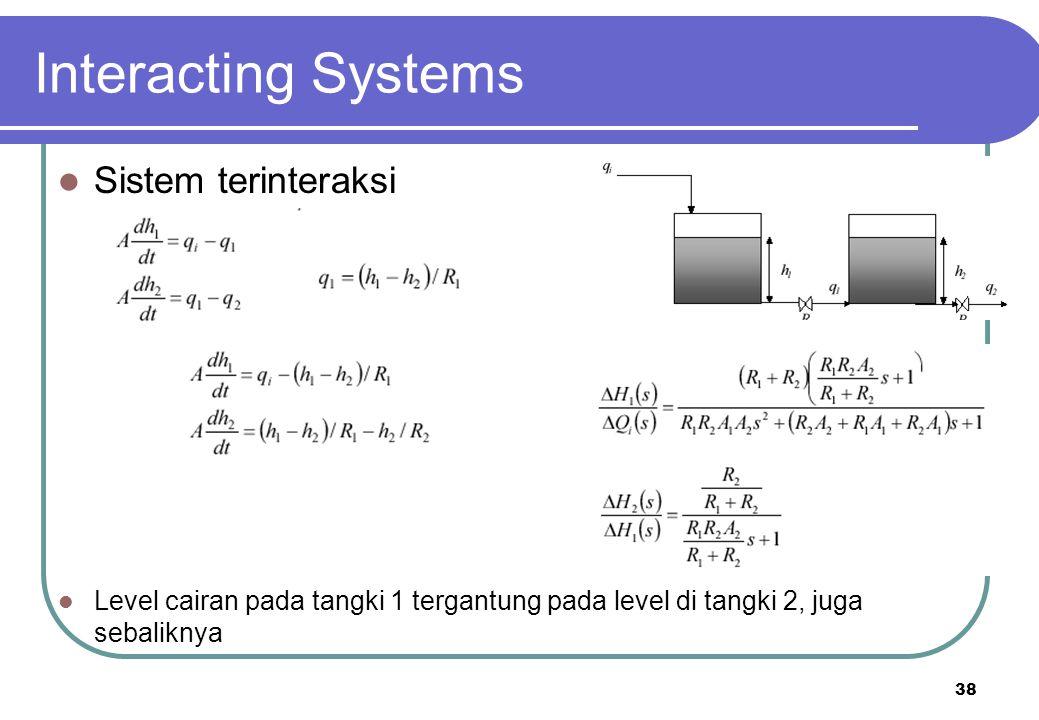 38 Interacting Systems Sistem terinteraksi Level cairan pada tangki 1 tergantung pada level di tangki 2, juga sebaliknya