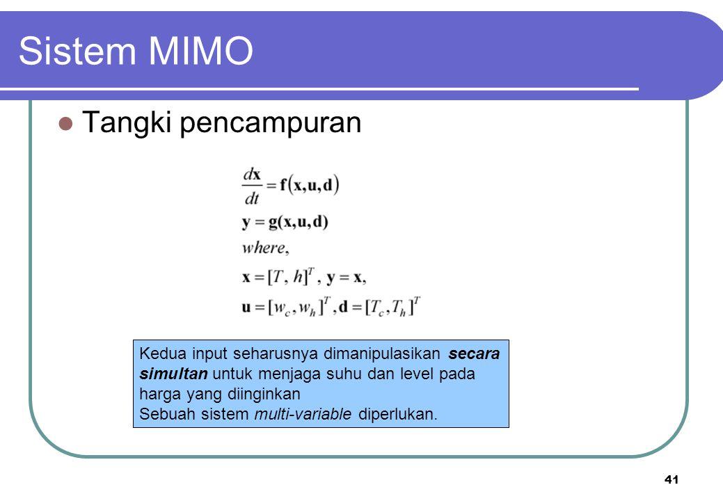 41 Sistem MIMO Tangki pencampuran Kedua input seharusnya dimanipulasikan secara simultan untuk menjaga suhu dan level pada harga yang diinginkan Sebua