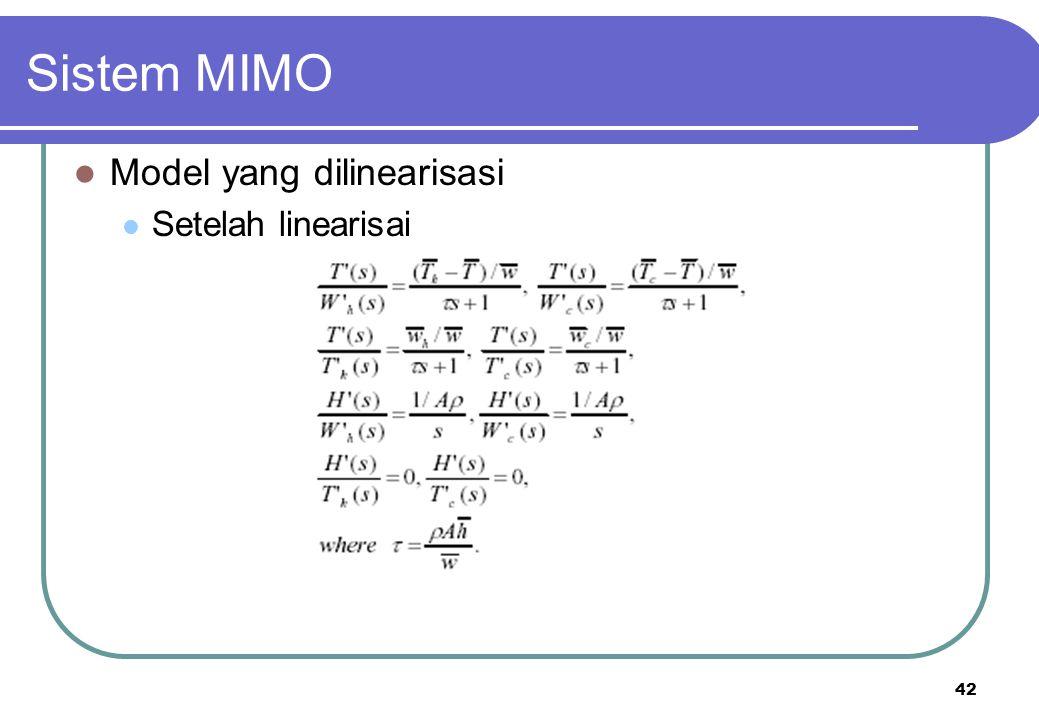 42 Sistem MIMO Model yang dilinearisasi Setelah linearisai