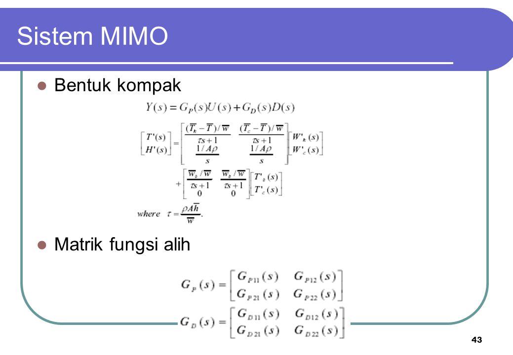 43 Sistem MIMO Bentuk kompak Matrik fungsi alih