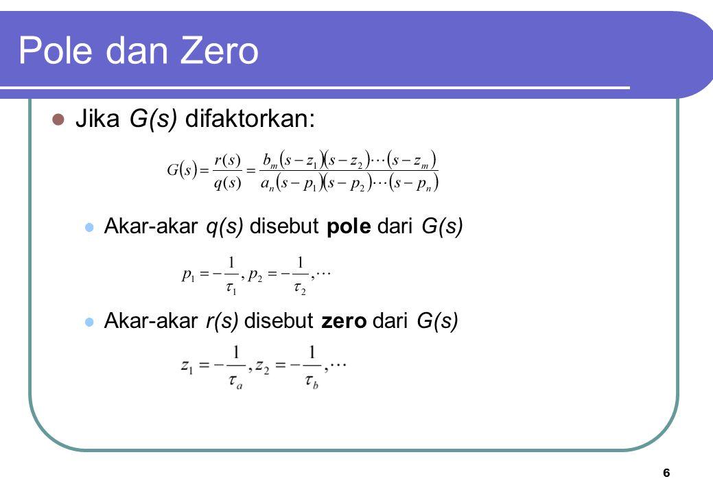 6 Jika G(s) difaktorkan: Akar-akar q(s) disebut pole dari G(s) Akar-akar r(s) disebut zero dari G(s) Pole dan Zero