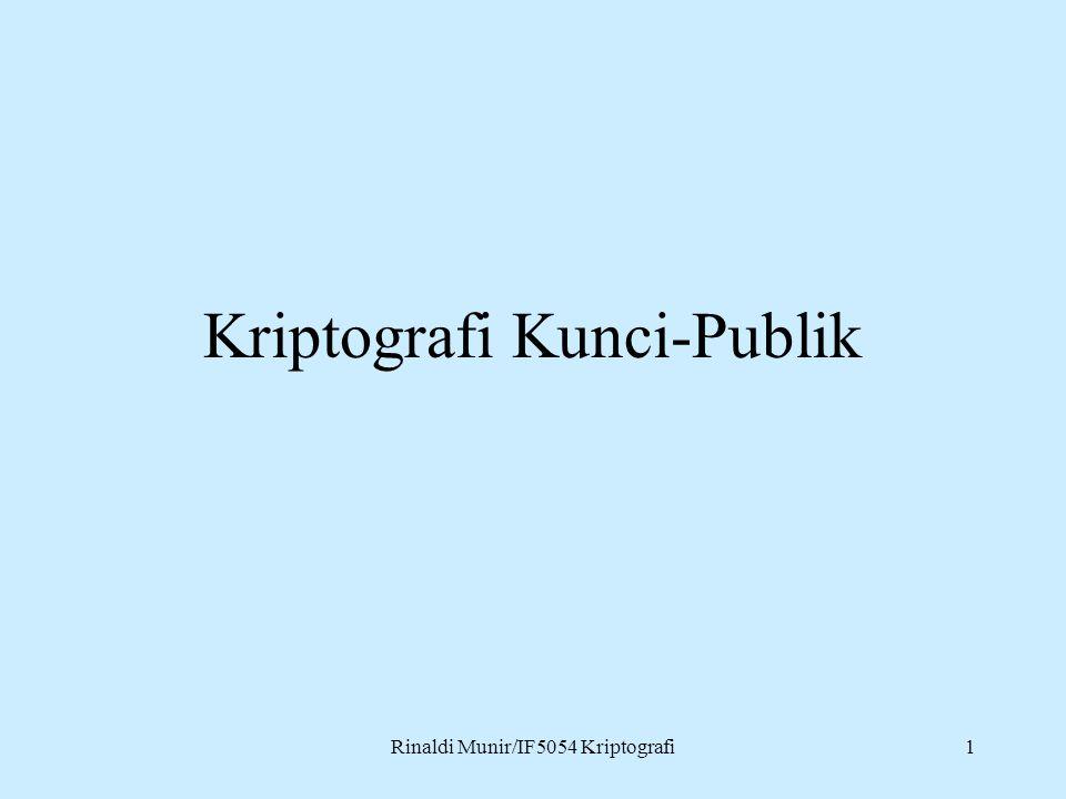 Rinaldi Munir/IF5054 Kriptografi1 Kriptografi Kunci-Publik