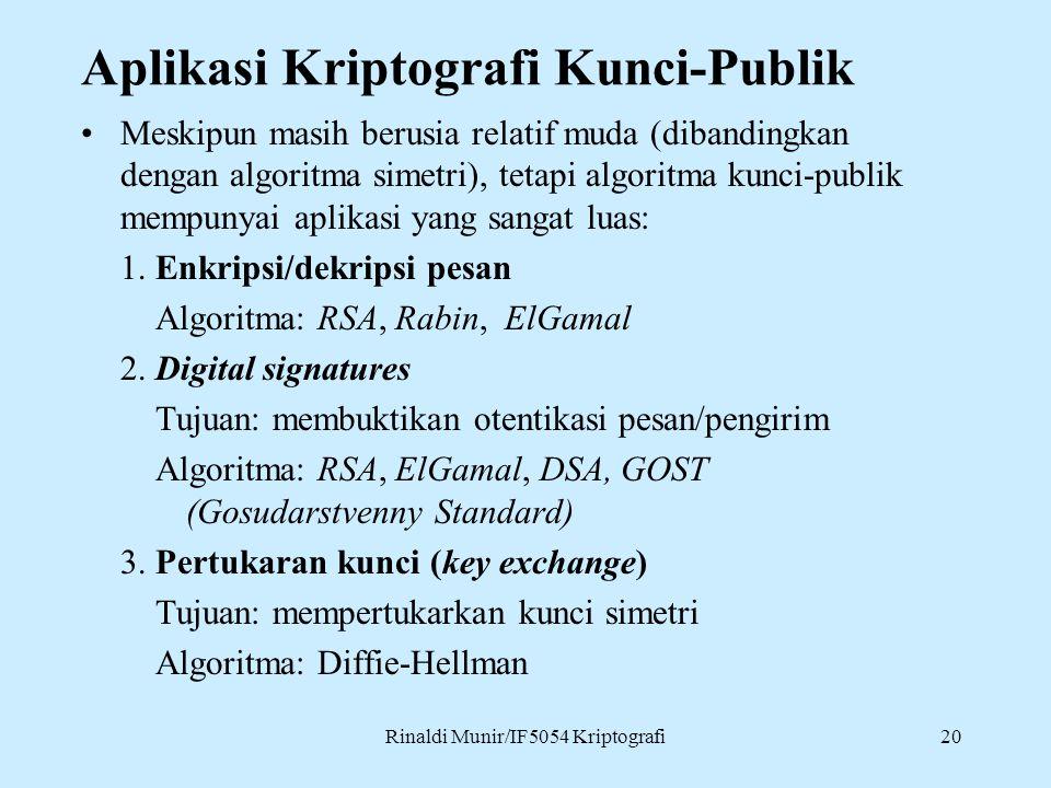 Rinaldi Munir/IF5054 Kriptografi20 Aplikasi Kriptografi Kunci-Publik Meskipun masih berusia relatif muda (dibandingkan dengan algoritma simetri), teta