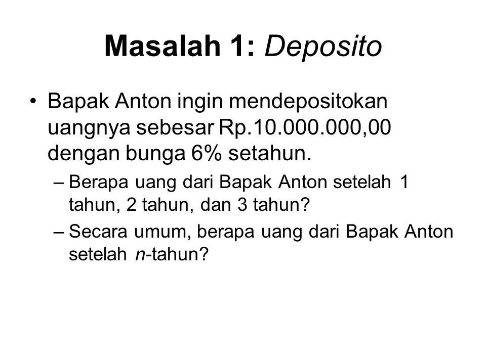 Masalah 1: Deposito Bapak Anton ingin mendepositokan uangnya sebesar Rp.10.000.000,00 dengan bunga 6% setahun. –Berapa uang dari Bapak Anton setelah 1