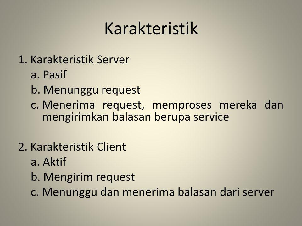 Karakteristik 1. Karakteristik Server a. Pasif b. Menunggu request c.Menerima request, memproses mereka dan mengirimkan balasan berupa service 2. Kara