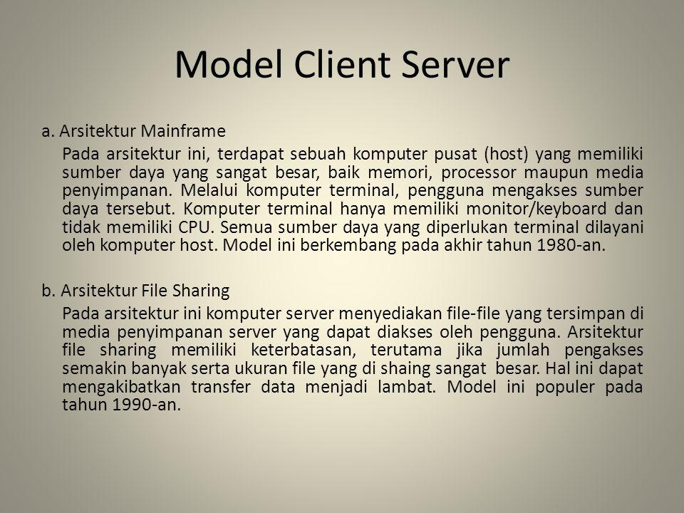 Model Client Server a. Arsitektur Mainframe Pada arsitektur ini, terdapat sebuah komputer pusat (host) yang memiliki sumber daya yang sangat besar, ba