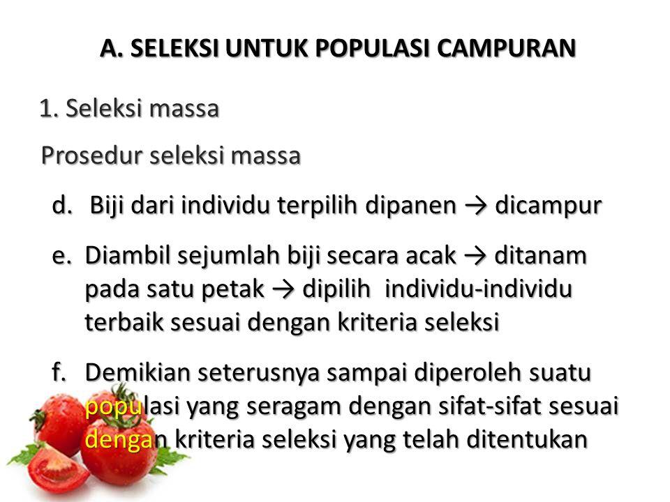 B.SELEKSI UNTUK POPULASI HASIL HIBRIDISASI 2.