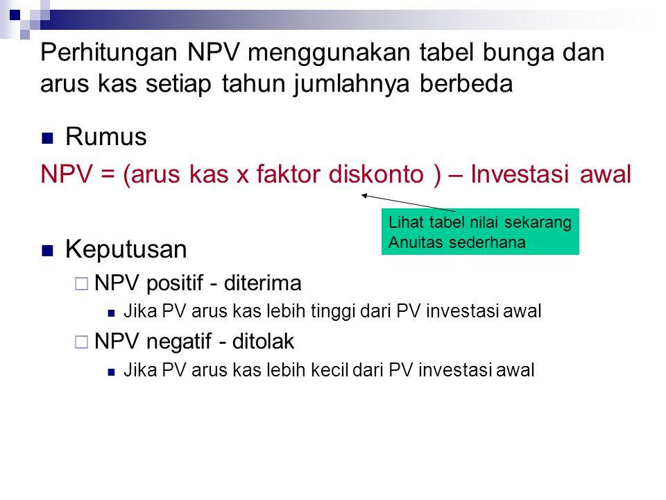 Perhitungan NPV menggunakan tabel bunga dan arus kas setiap tahun jumlahnya berbeda Rumus NPV = (arus kas x faktor diskonto ) – Investasi awal Keputus