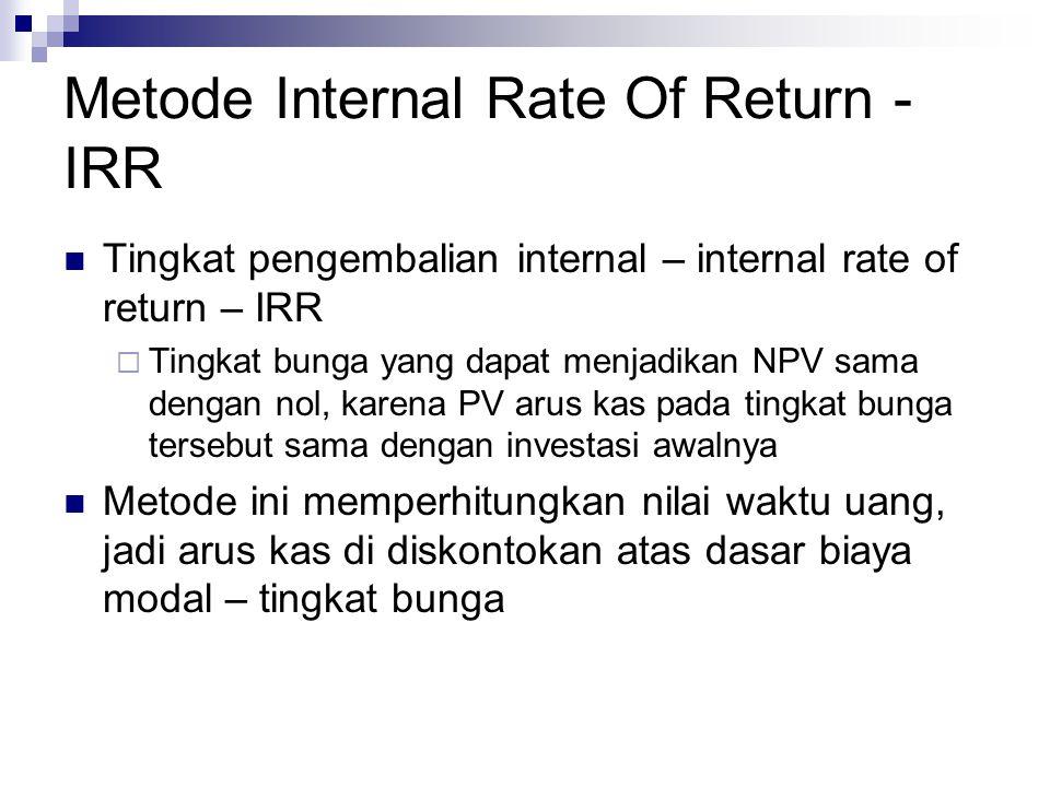 Metode Internal Rate Of Return - IRR Tingkat pengembalian internal – internal rate of return – IRR  Tingkat bunga yang dapat menjadikan NPV sama deng