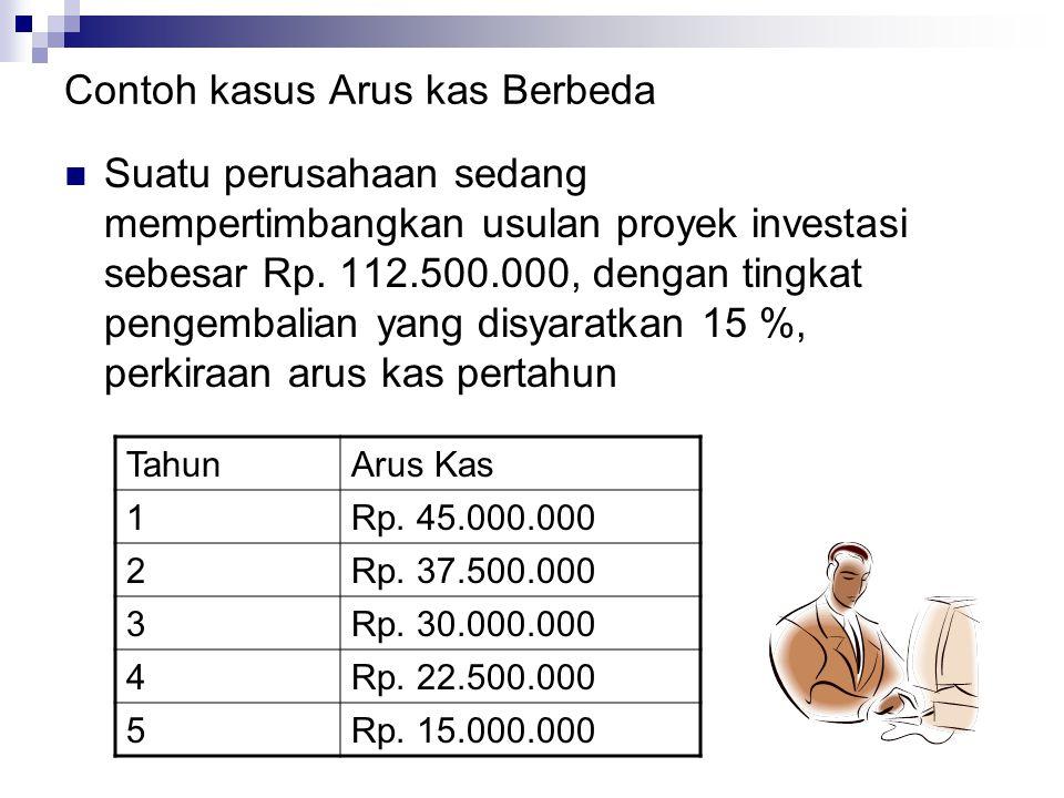 Contoh kasus Arus kas Berbeda Suatu perusahaan sedang mempertimbangkan usulan proyek investasi sebesar Rp. 112.500.000, dengan tingkat pengembalian ya