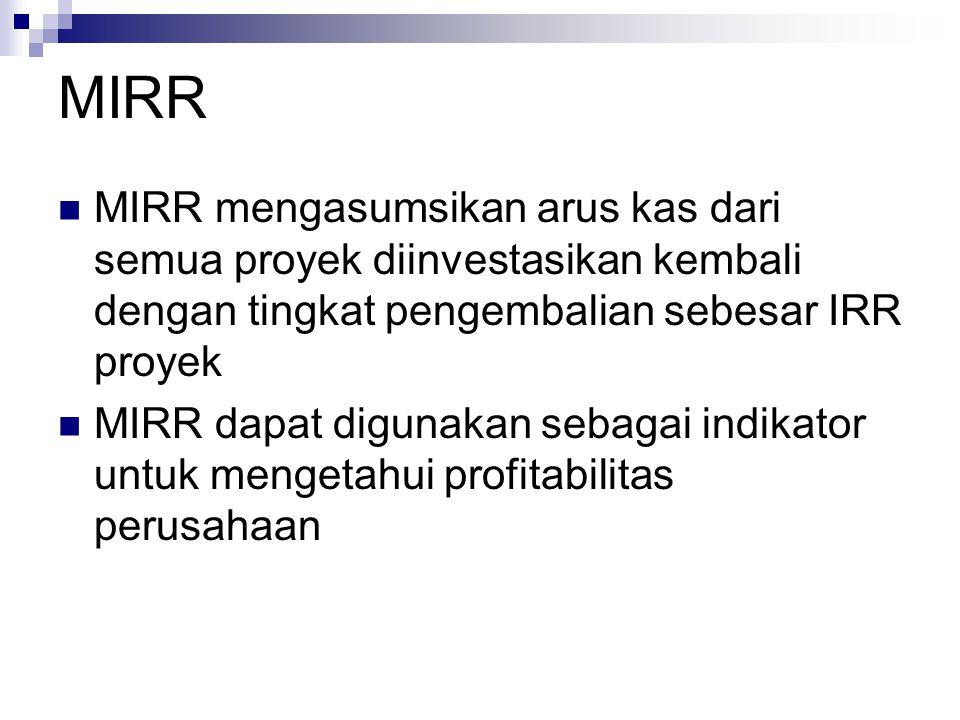 MIRR MIRR mengasumsikan arus kas dari semua proyek diinvestasikan kembali dengan tingkat pengembalian sebesar IRR proyek MIRR dapat digunakan sebagai