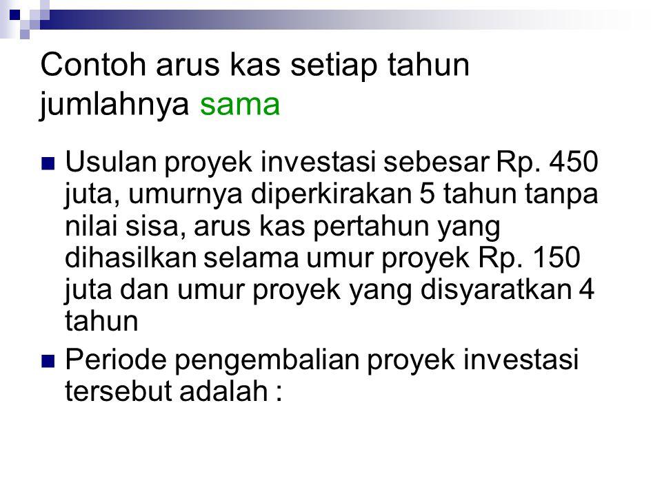 Rumusan CF: Arus kas i: Biaya modal – tingkat bunga n: Umur proyek investasi OI: Investasi awal NPV = CF 1 + CF 2 CF 3 CF 4 + ++ + (1 + i) 1 (1 + i) 2 (1 + i) 3 (1 + i) 4 (1 + i) n CF n … - OI