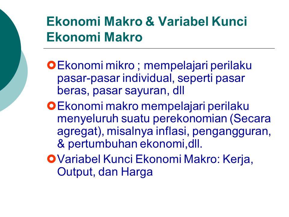 Ekonomi Makro & Variabel Kunci Ekonomi Makro  Ekonomi mikro ; mempelajari perilaku pasar-pasar individual, seperti pasar beras, pasar sayuran, dll 