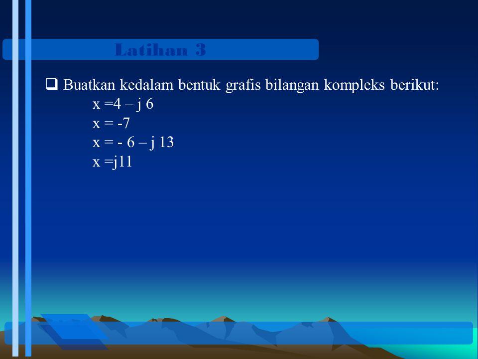 Latihan 3  Buatkan kedalam bentuk grafis bilangan kompleks berikut: x =4 – j 6 x = -7 x = - 6 – j 13 x =j11