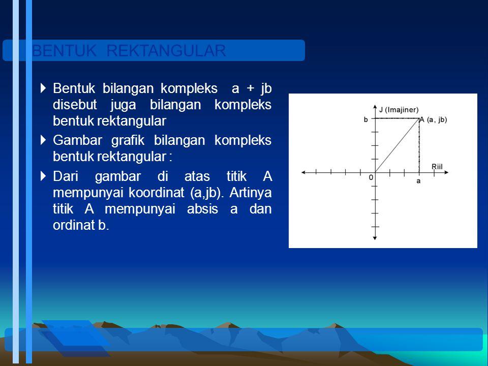 BENTUK REKTANGULAR  Bentuk bilangan kompleks a + jb disebut juga bilangan kompleks bentuk rektangular  Gambar grafik bilangan kompleks bentuk rektan