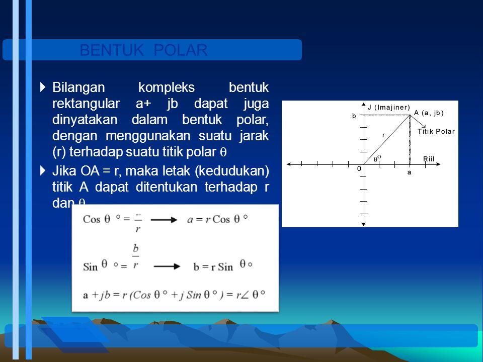 BENTUK POLAR  Bilangan kompleks bentuk rektangular a+ jb dapat juga dinyatakan dalam bentuk polar, dengan menggunakan suatu jarak (r) terhadap suatu