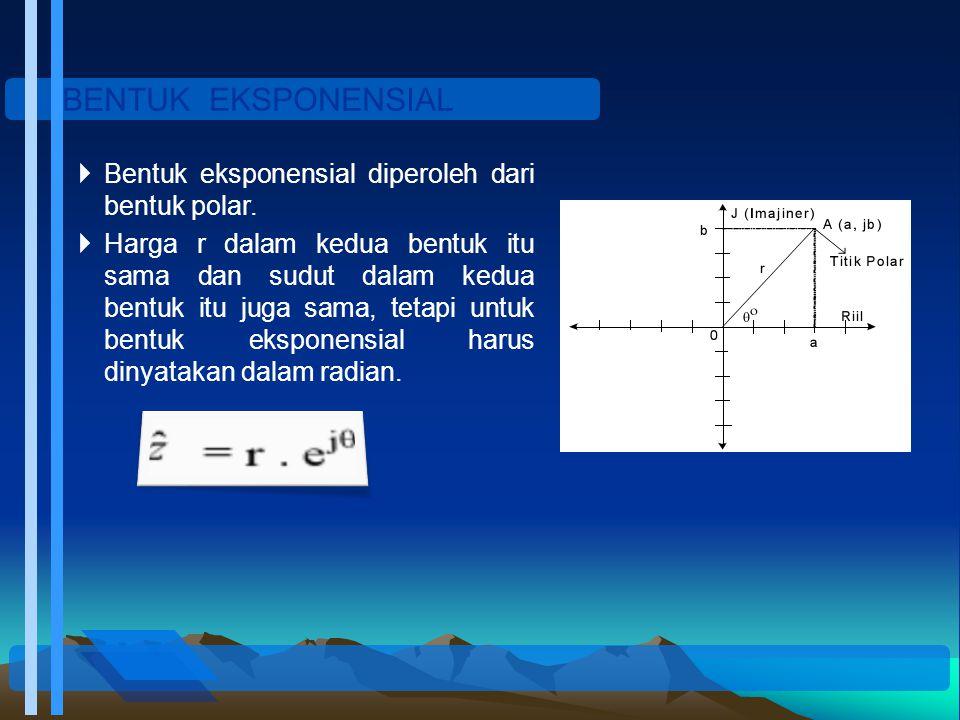 BENTUK EKSPONENSIAL  Bentuk eksponensial diperoleh dari bentuk polar.  Harga r dalam kedua bentuk itu sama dan sudut dalam kedua bentuk itu juga sam