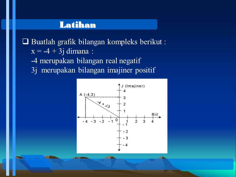 JAWABAN Persamaan bilangan kompleks z = -3 + j3 Dimana: Sin  = Cos  = di kuadran II Bentuk Polar nya : z = r(cos  + j sin  ) = 3 (cos(135) + j sin(135)) Bentuk Exponensialnya :