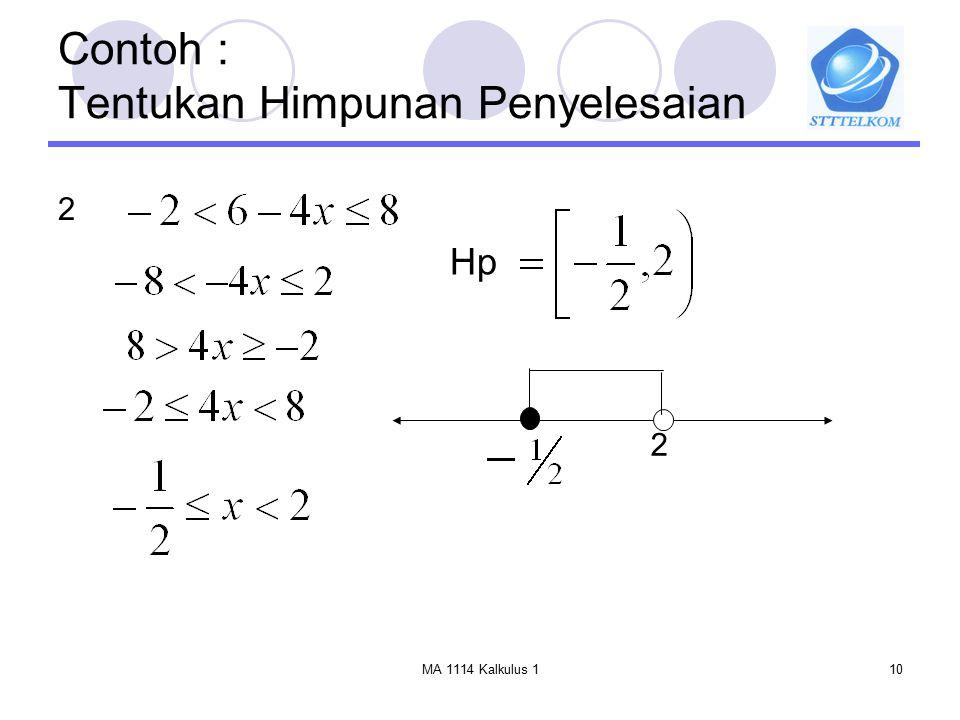 MA 1114 Kalkulus 110 Contoh : Tentukan Himpunan Penyelesaian 2 Hp 2