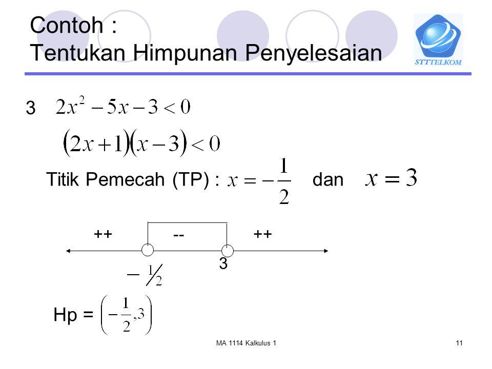 MA 1114 Kalkulus 111 Contoh : Tentukan Himpunan Penyelesaian Titik Pemecah (TP) :dan 3 ++ -- 3 Hp =