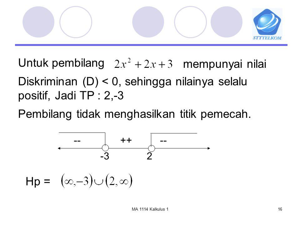 MA 1114 Kalkulus 116 Untuk pembilang mempunyai nilai Diskriminan (D) < 0, sehingga nilainya selalu positif, Jadi TP : 2,-3 Pembilang tidak menghasilka