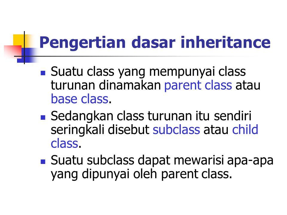 Pengertian dasar inheritance Karena suatu subclass dapat mewarisi apa- apa yang dipunyai oleh parent class-nya, maka member dari suatu subclass adalah terdiri dari apa-apa yang ia punyai dan juga apa-apa yang ia warisi dari class parent-nya.