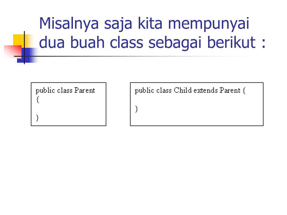 Misalnya saja kita mempunyai dua buah class sebagai berikut :