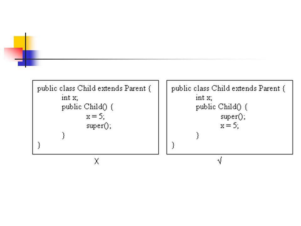 Contoh public class Parent { String parentName; public Parent(String parentName) { this.parentName= parentName; } class Baby extends Parent { public void Cry() { System.out.println( Owek owek ); } Selanjutnya bila kita membuat : Baby bayi = new Baby()  error!!