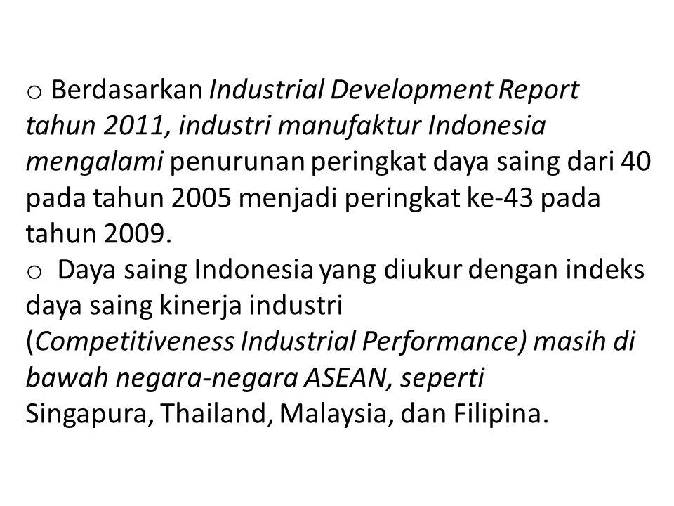 o Berdasarkan Industrial Development Report tahun 2011, industri manufaktur Indonesia mengalami penurunan peringkat daya saing dari 40 pada tahun 2005