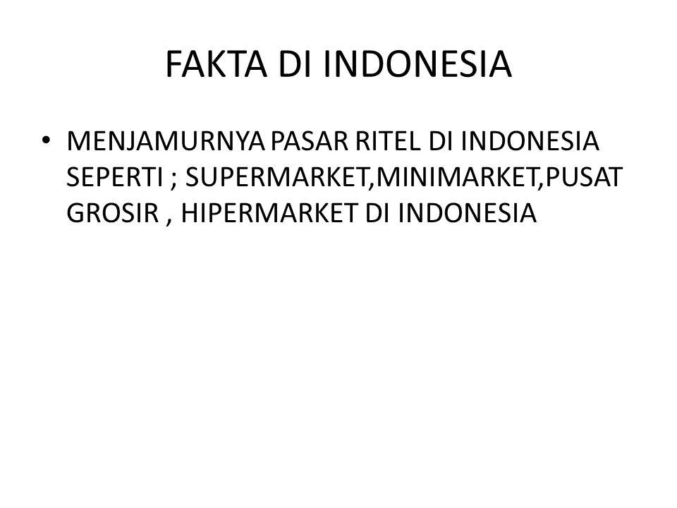 FAKTA DI INDONESIA MENJAMURNYA PASAR RITEL DI INDONESIA SEPERTI ; SUPERMARKET,MINIMARKET,PUSAT GROSIR, HIPERMARKET DI INDONESIA