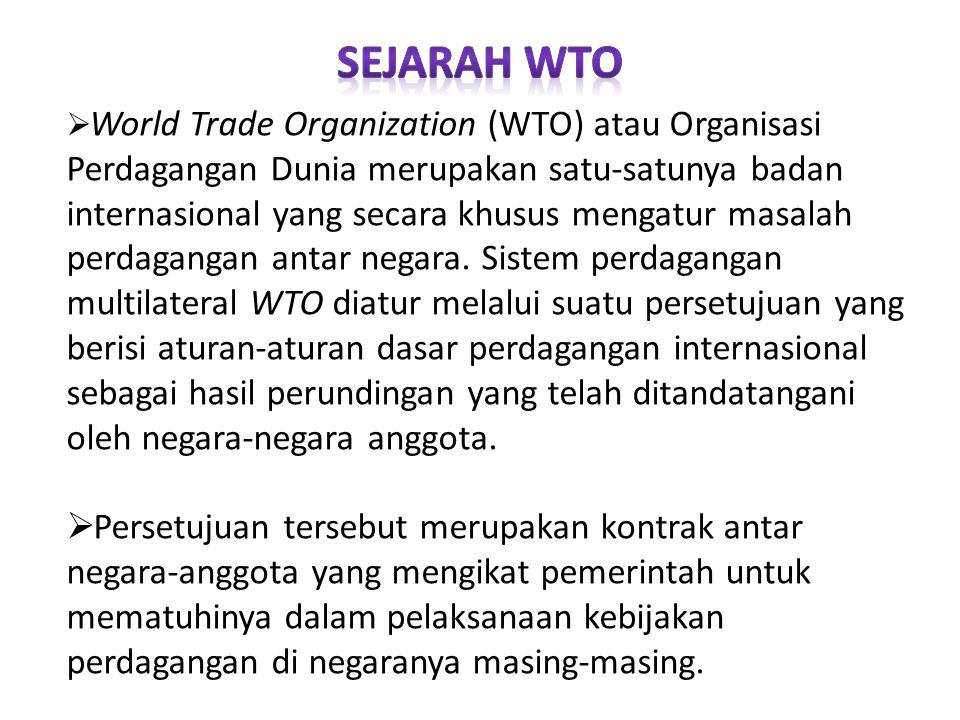  World Trade Organization (WTO) atau Organisasi Perdagangan Dunia merupakan satu-satunya badan internasional yang secara khusus mengatur masalah perd