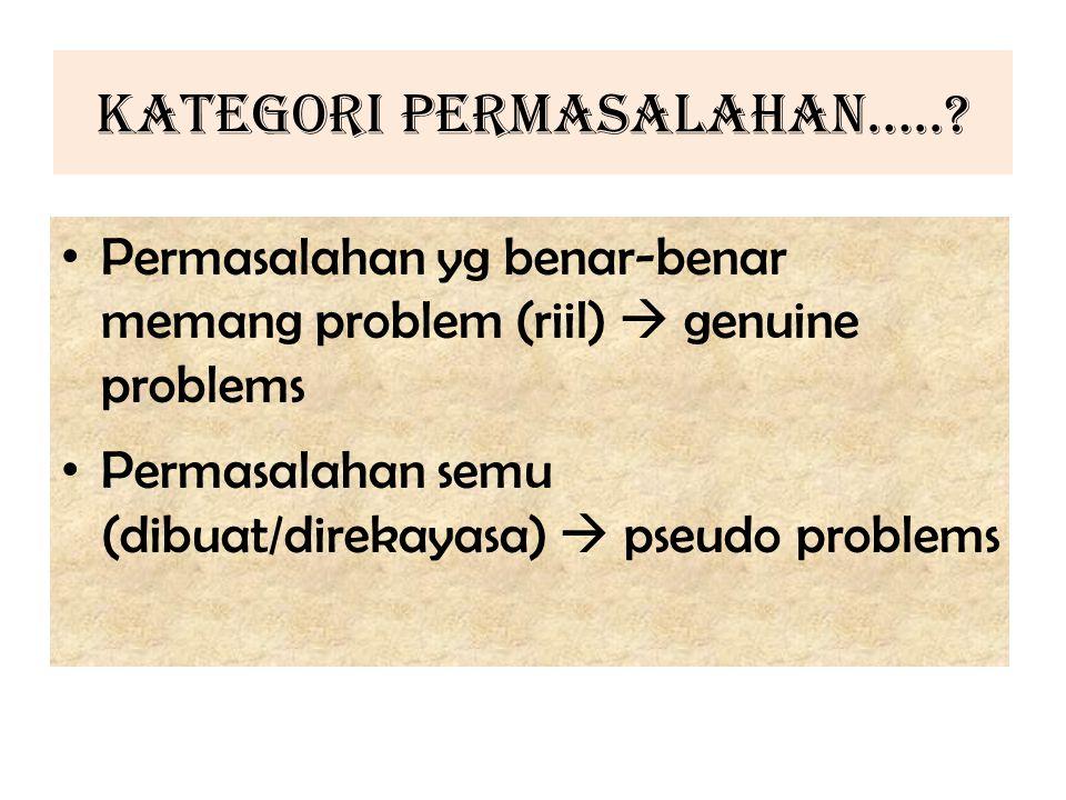 KATEGORI PERMASALAHAN…..? Permasalahan yg benar-benar memang problem (riil)  genuine problems Permasalahan semu (dibuat/direkayasa)  pseudo problems