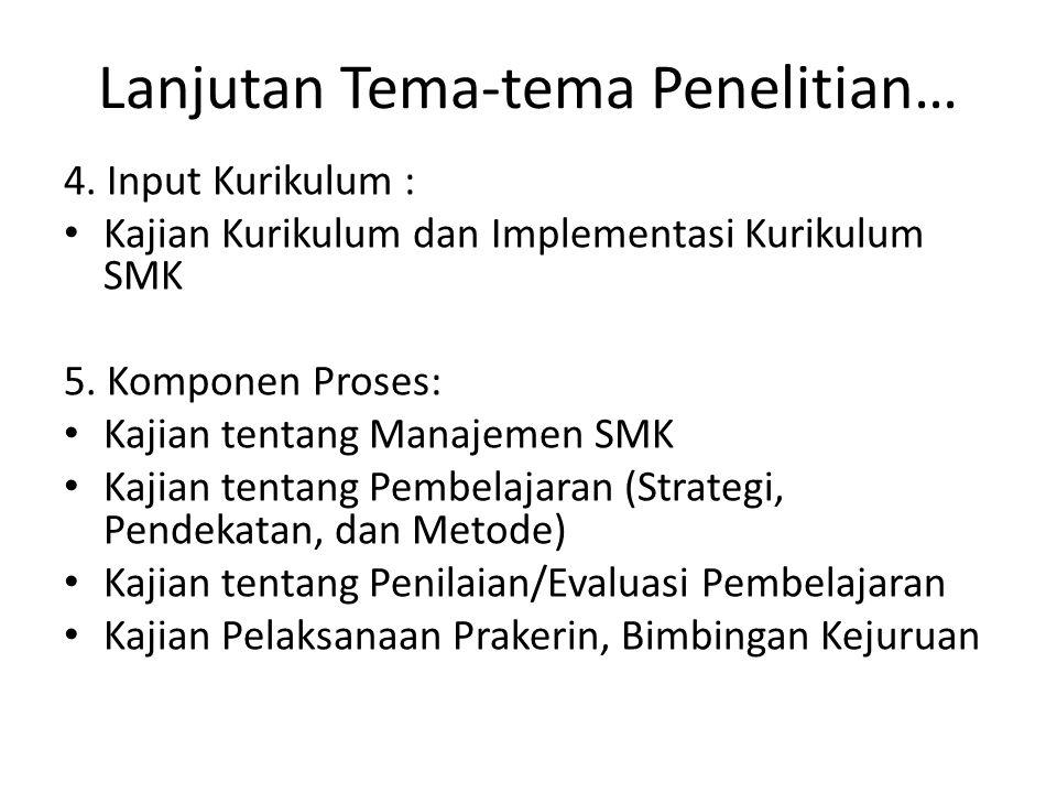 Lanjutan Tema-tema Penelitian… 4. Input Kurikulum : Kajian Kurikulum dan Implementasi Kurikulum SMK 5. Komponen Proses: Kajian tentang Manajemen SMK K