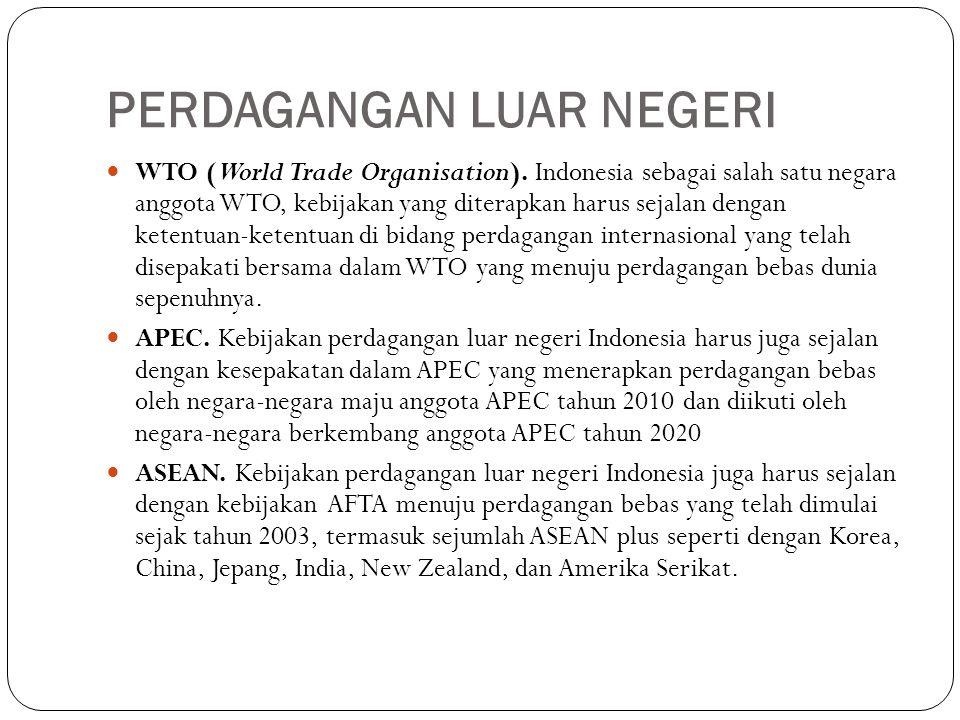PERDAGANGAN LUAR NEGERI WTO (World Trade Organisation). Indonesia sebagai salah satu negara anggota WTO, kebijakan yang diterapkan harus sejalan denga