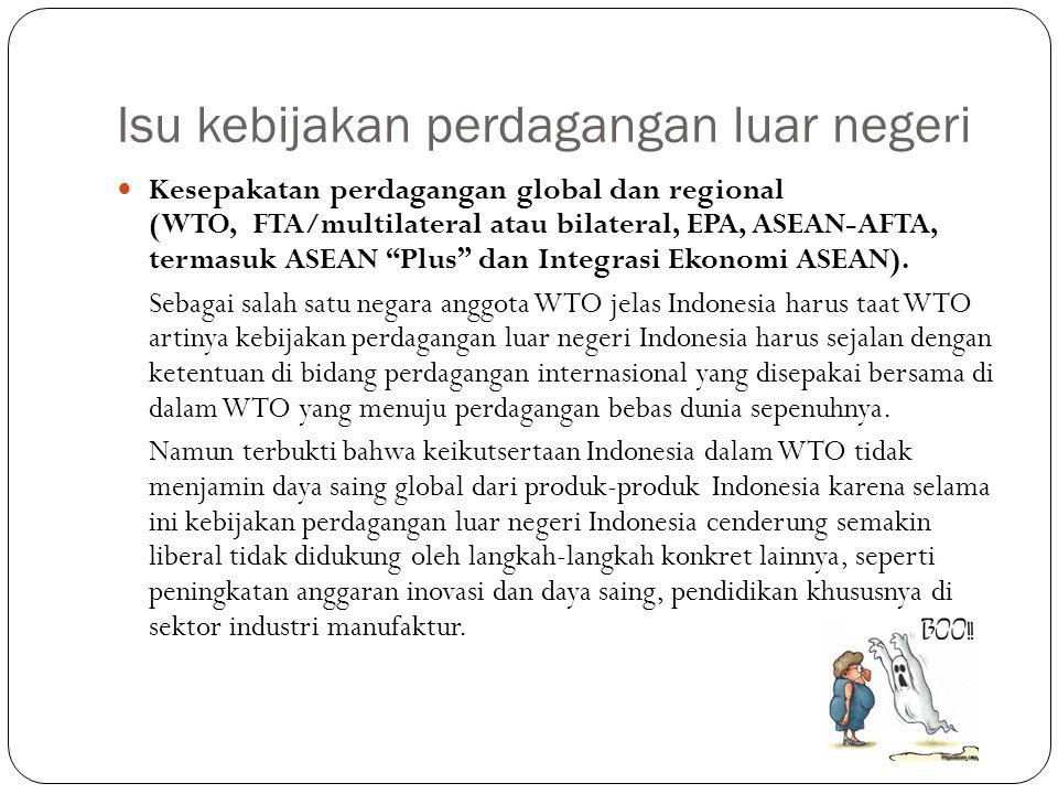 Isu kebijakan perdagangan luar negeri Kesepakatan perdagangan global dan regional (WTO, FTA/multilateral atau bilateral, EPA, ASEAN-AFTA, termasuk ASE