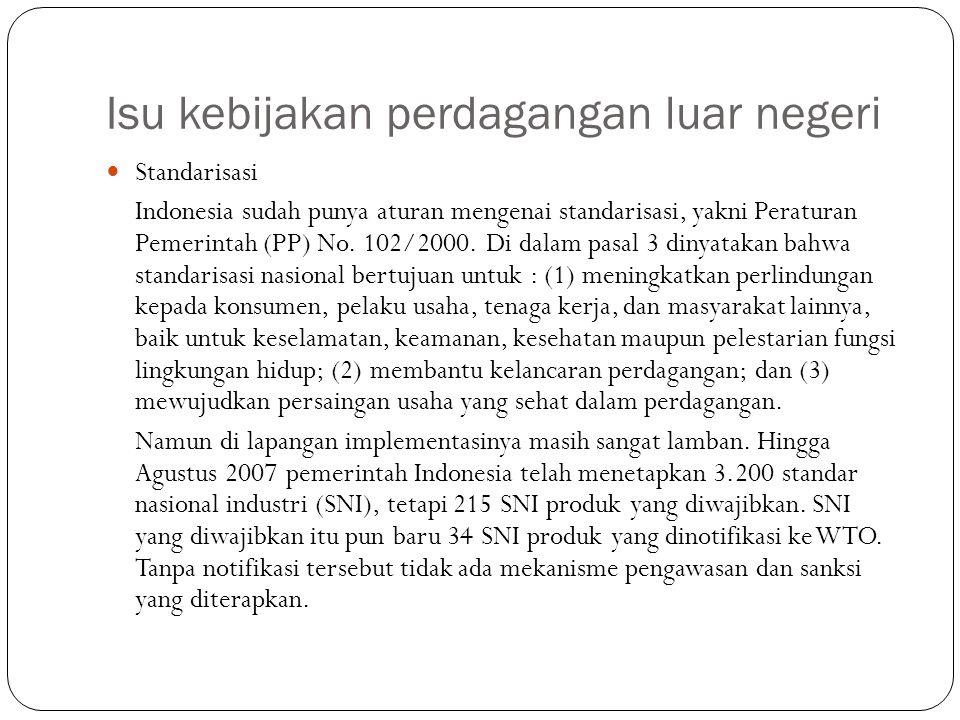 Isu kebijakan perdagangan luar negeri Standarisasi Indonesia sudah punya aturan mengenai standarisasi, yakni Peraturan Pemerintah (PP) No. 102/2000. D