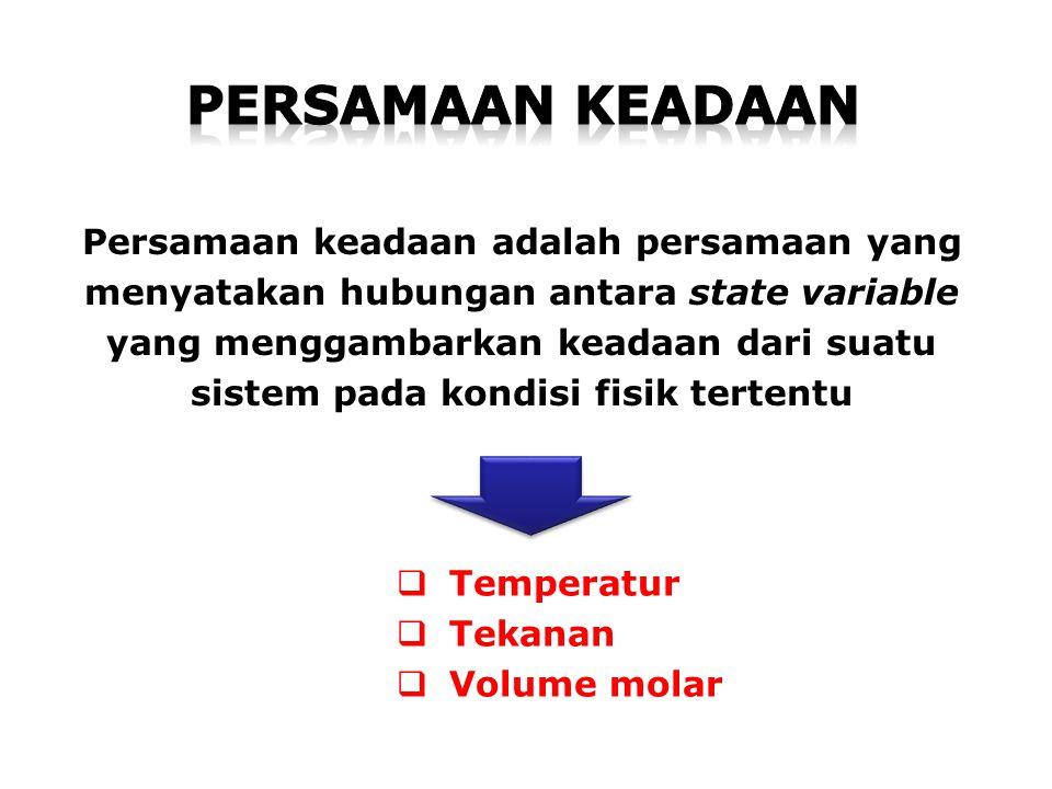 Persamaan keadaan adalah persamaan yang menyatakan hubungan antara state variable yang menggambarkan keadaan dari suatu sistem pada kondisi fisik tertentu  Temperatur  Tekanan  Volume molar