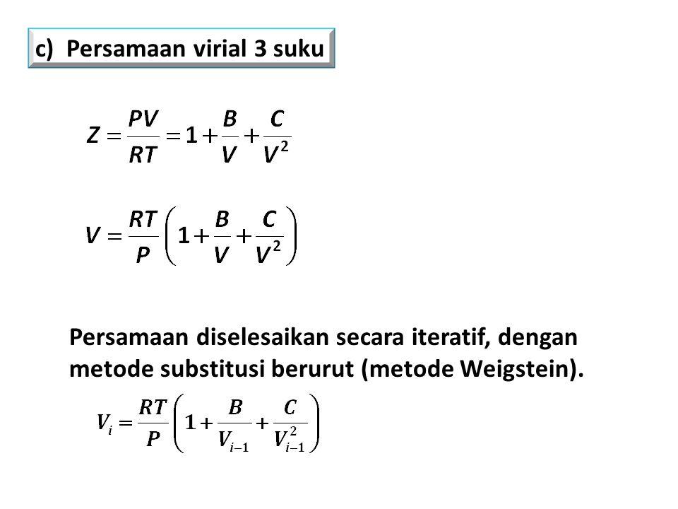 Persamaan diselesaikan secara iteratif, dengan metode substitusi berurut (metode Weigstein).