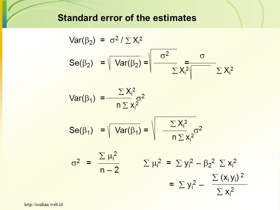 Standard error of the estimates Var(  2 ) =  2 /  X i 2  2  Se(  2 ) = Var(  2 ) = =  X i 2  X i 2  X i 2 Var(  1 ) =  2 n  x i 2  X i 2