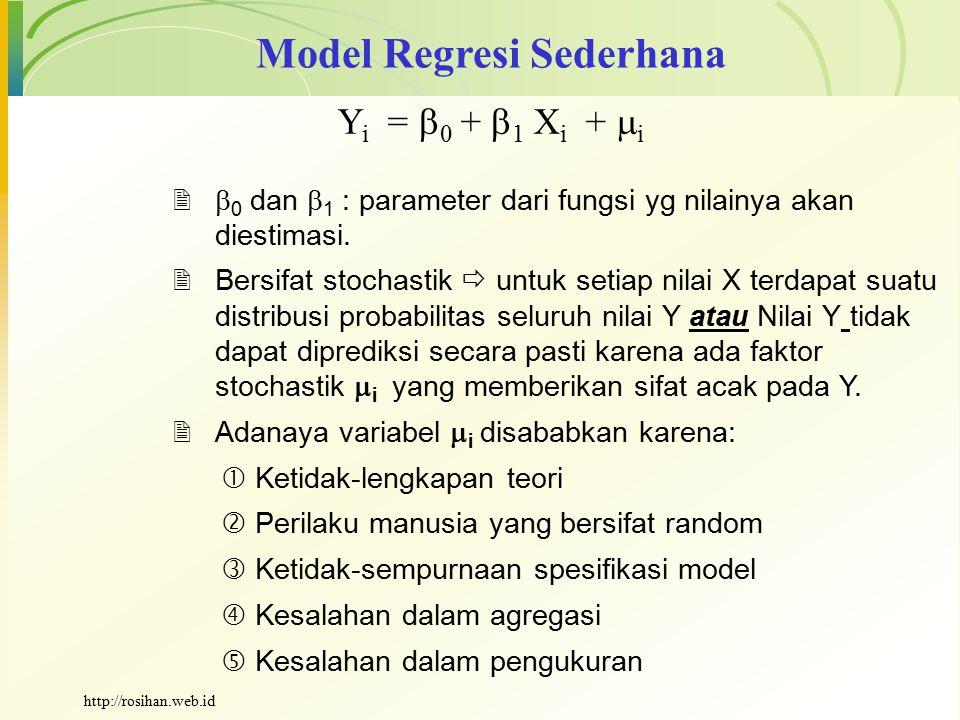 Model Regresi Sederhana Y i =  0 +  1 X i +  i   0 dan  1 : parameter dari fungsi yg nilainya akan diestimasi.  Bersifat stochastik  untuk set