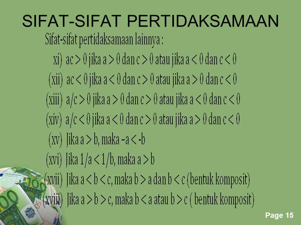 Powerpoint Templates Page 15 SIFAT-SIFAT PERTIDAKSAMAAN