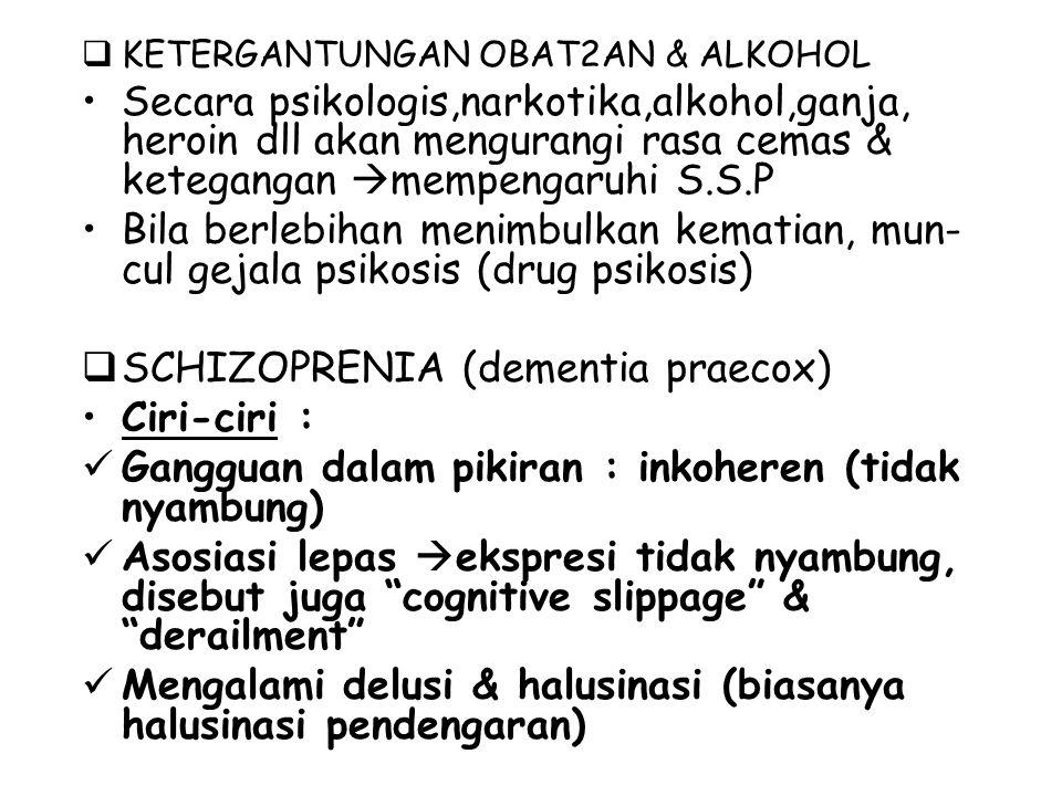 KETERGANTUNGAN OBAT2AN & ALKOHOL Secara psikologis,narkotika,alkohol,ganja, heroin dll akan mengurangi rasa cemas & ketegangan  mempengaruhi S.S.P