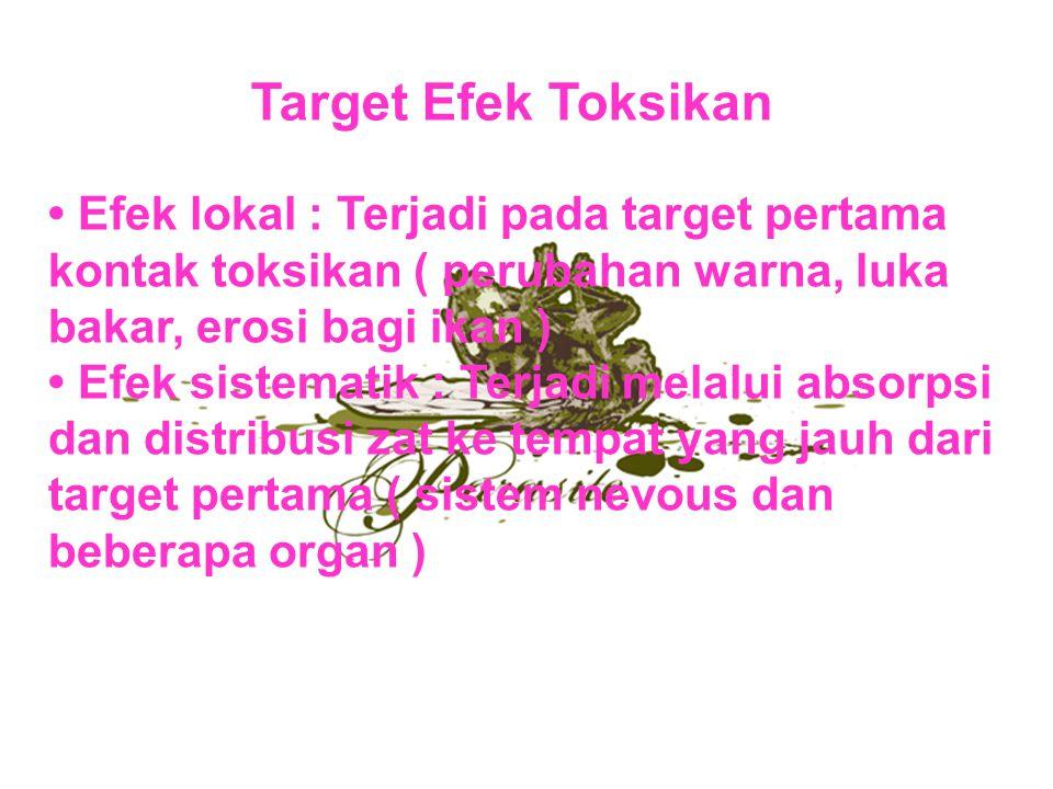 Target Efek Toksikan Efek lokal : Terjadi pada target pertama kontak toksikan ( perubahan warna, luka bakar, erosi bagi ikan ) Efek sistematik : Terja