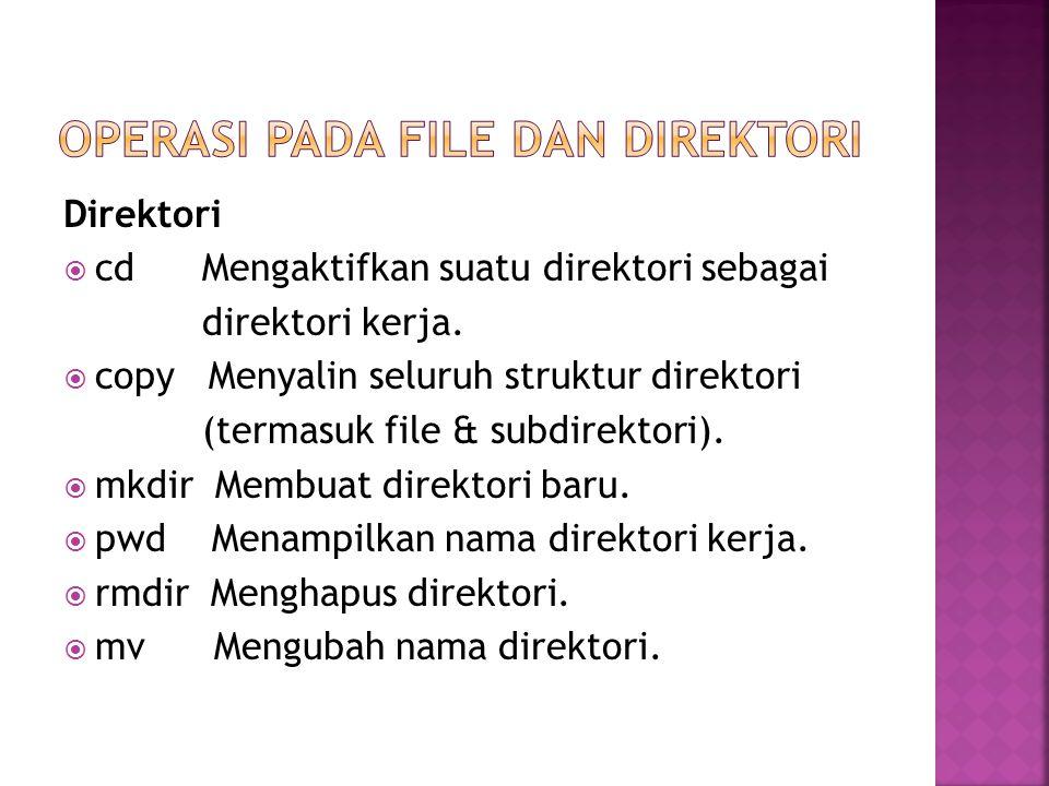 Direktori  cd Mengaktifkan suatu direktori sebagai direktori kerja.  copy Menyalin seluruh struktur direktori (termasuk file & subdirektori).  mkdi