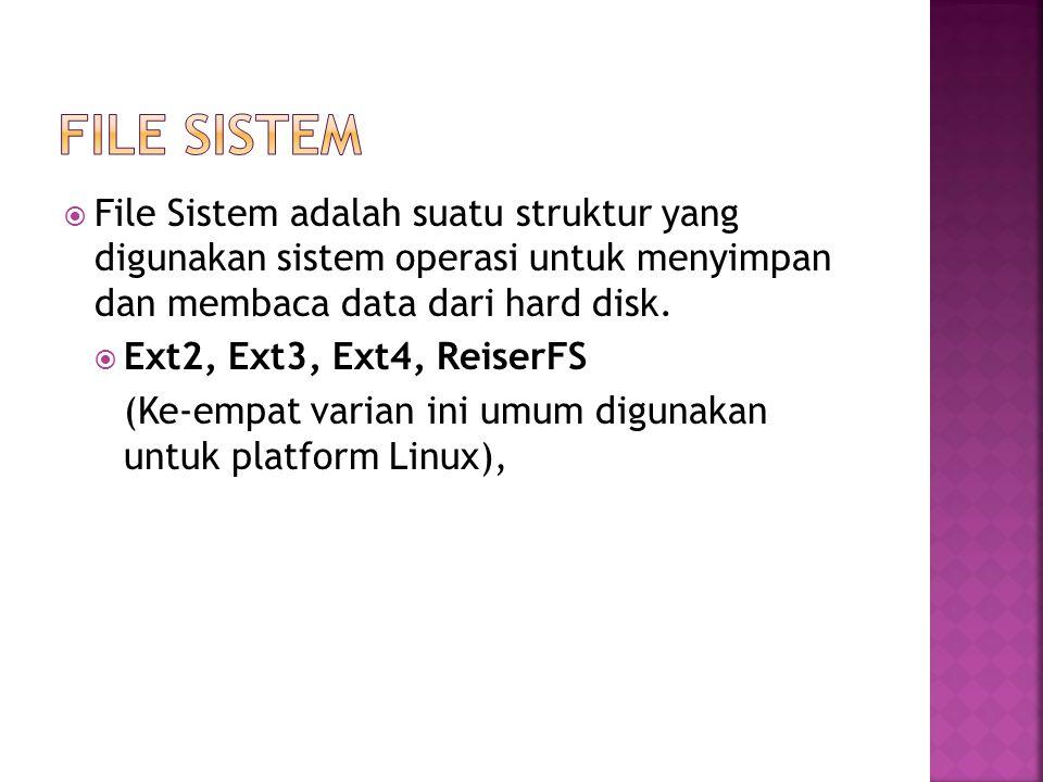  File Sistem adalah suatu struktur yang digunakan sistem operasi untuk menyimpan dan membaca data dari hard disk.  Ext2, Ext3, Ext4, ReiserFS (Ke-em