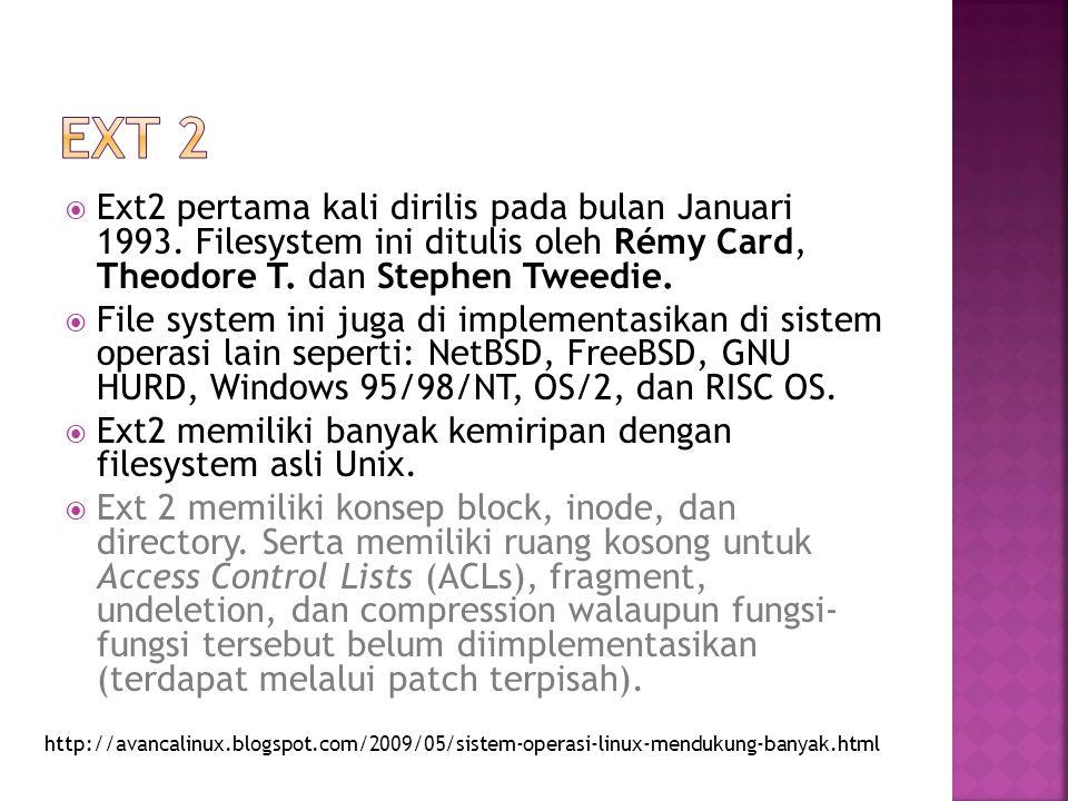  Ext2 pertama kali dirilis pada bulan Januari 1993. Filesystem ini ditulis oleh Rémy Card, Theodore T. dan Stephen Tweedie.  File system ini juga di