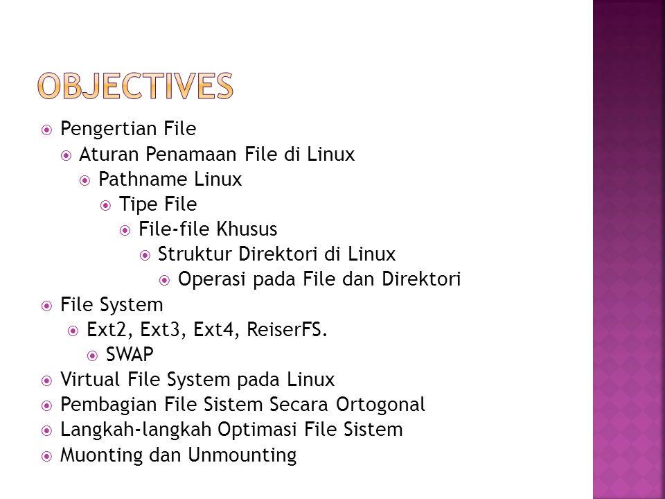  Pengertian File  Aturan Penamaan File di Linux  Pathname Linux  Tipe File  File-file Khusus  Struktur Direktori di Linux  Operasi pada File da